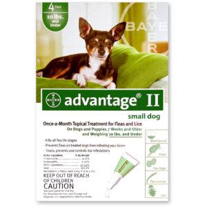 ADVANTAGE II DOG 0-10 LB GREEN 4 PK