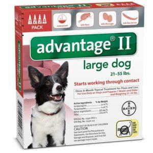 ADVANTAGE II DOG 21-55 LB RED 4 PK
