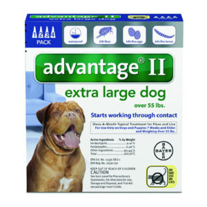 ADVANTAGE II DOG 56-100 LB BLUE 4 PK