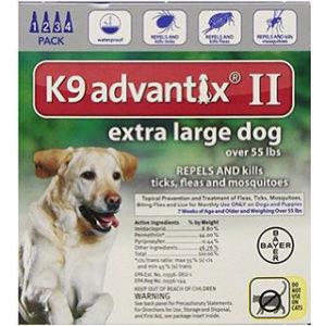 K-9 ADVANTIX II 56-100 LB BLUE 4PK